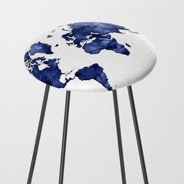 Dark navy blue watercolor world map Counter Stool