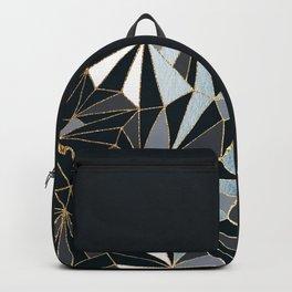 Stylish Art Deco Geometric Pattern - Black, blue, Gold #abstract #pattern Backpack