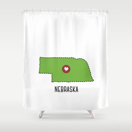 Nebraska State Heart Shower Curtain