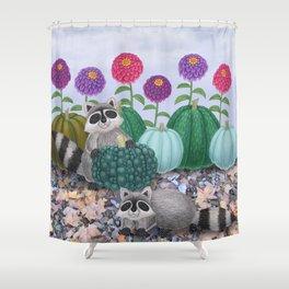 raccoons, heirloom pumpkins, & zinnias Shower Curtain