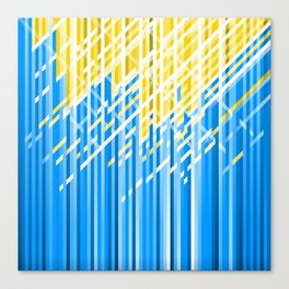 Yellow and Blue Dynamic Lines Canvas Print
