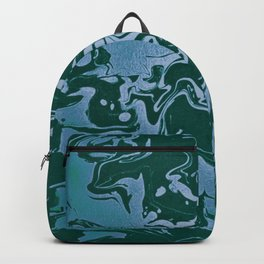 Flooded Grasslands - green blue swirl abstract pattern Backpack