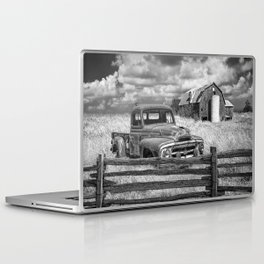Black and White of Rusted International Harvester Pickup Truck behind wooden fence with Red Barn in Laptop & iPad Skin