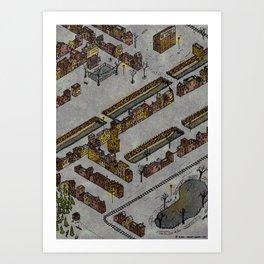 Wintery Town Art Print