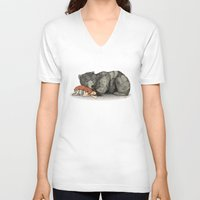 large V-neck T-shirts featuring Huntress by Sandra Dieckmann