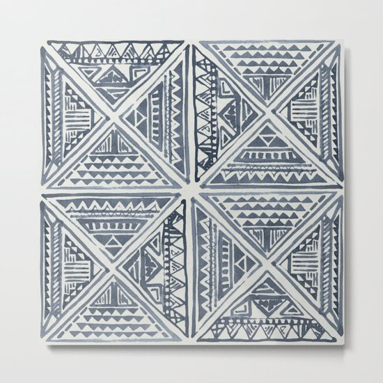 Simply Tribal Tile in Indigo Blue on Lunar Gray Metal Print