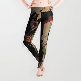 Sumo Wrestler Japanese Woodcut Block Print Leggings