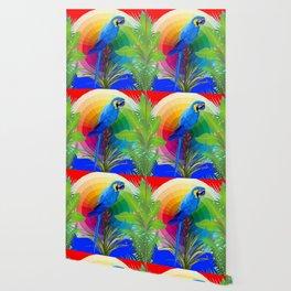 COLORFUL BLUE MACAW DREAMSCAPE JUNGLE ART Wallpaper