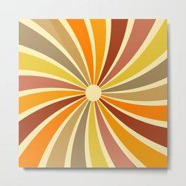 Sunshine & Rainbow Retro Pattern Metal Print