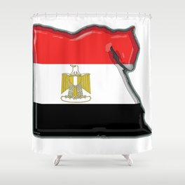 Egypt Map with Egyptian Flag Shower Curtain