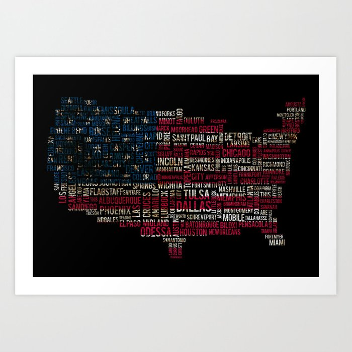 United States Flag Map With Major Cities Art Print