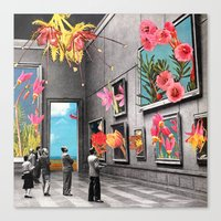 grey Canvas Prints featuring Natural History Museum by Eugenia Loli