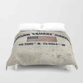 Madison Square Garden, Longitude and Latitude Coordinates Duvet Cover