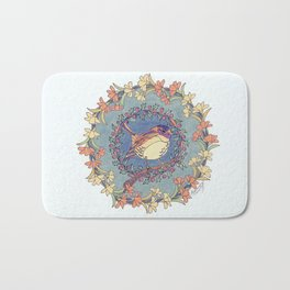 Small Bird With Wildflowers And Holly Wreath Bath Mat