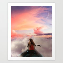 Kayaking in the clouds Art Print
