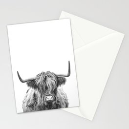 Highland Cow, Black and White Art, Animal Wall Art Stationery Cards