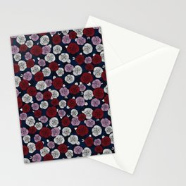 Roses in navy blue, orchid and burgundy red Stationery Cards