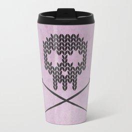 Knitted Skull (Black on Pink) Travel Mug