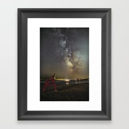 Lifeguard chair and the Milkyway Framed Art Print