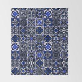 Blue Wonderful Traditional Moroccan Vintage Tiles Artwork (N26). Throw Blanket
