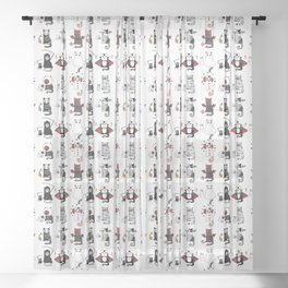 Horror Cats and mouses. Cute witch, vampire, angel and demon Sheer Curtain