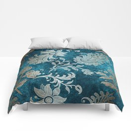 Aqua Teal Vintage Floral Damask Pattern Comforters