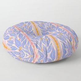 Blue Leaves on Lavender Floor Pillow