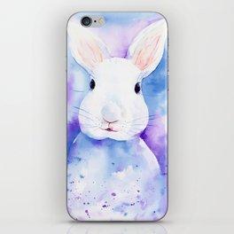 Watercolor White Rabbit iPhone Skin