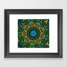 Lovely Healing Mandalas in Brilliant Colors: Hunter Green, Green, Navy, Light Blue, and Goldenrod Framed Art Print