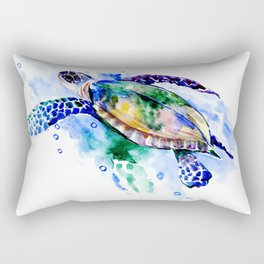 Swimming Sea Turtle Rectangular Pillow
