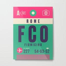 Retro Airline Luggage Tag - FCO Rome Fiumicino Metal Print