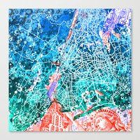 new york map Canvas Prints featuring new york new york map by Bekim ART