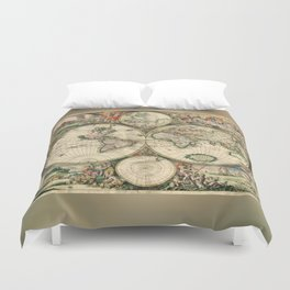 Old map of world hemispheres. Created by Frederick De Wit, 1668 Duvet Cover