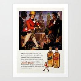 Vintage 1951 Johnnie Walker Alcohol - Whiskey Advertisement Poster Art Print