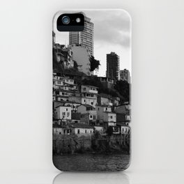 Black and white photo of a favela taken from the water iPhone Case