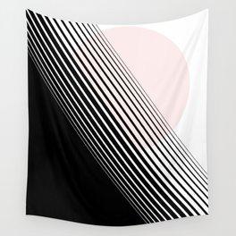 Rising Sun Minimal Japanese Abstract White Black Blush Pink Wall Tapestry