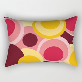 Geometrics, composition of circles in yellow, pink, red Rectangular Pillow