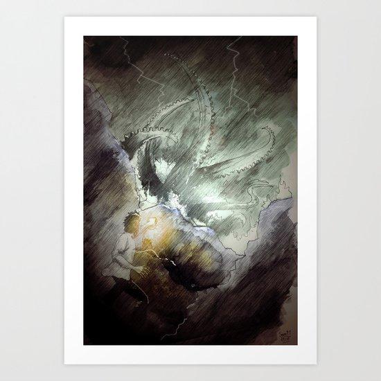 The wake of cthulhu Art Print