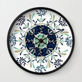 Leaf Mandala – Navy & Mint Palette Wall Clock