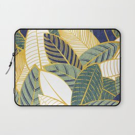 Leaf wall // navy blue pine and sage green leaves golden lines Laptop Sleeve