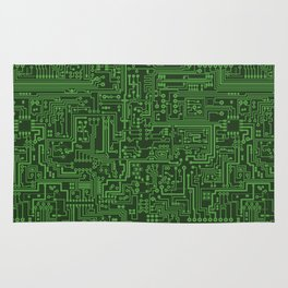 Circuit Board // Light on Dark Green Rug