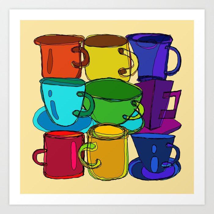 Tea Cups and Coffee Mugs Spectrum Art Print