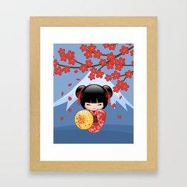 Japanese Red Sakura Kokeshi Doll on Blue Framed Art Print