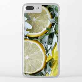 Yellow installation with lemon Clear iPhone Case