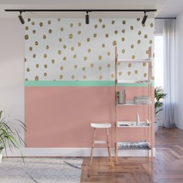Coral teal color block faux gold foil polka dots pattern Wall Mural