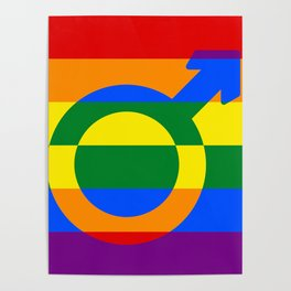 Gay Pride Rainbow Flag Boy Man Gender Male Poster