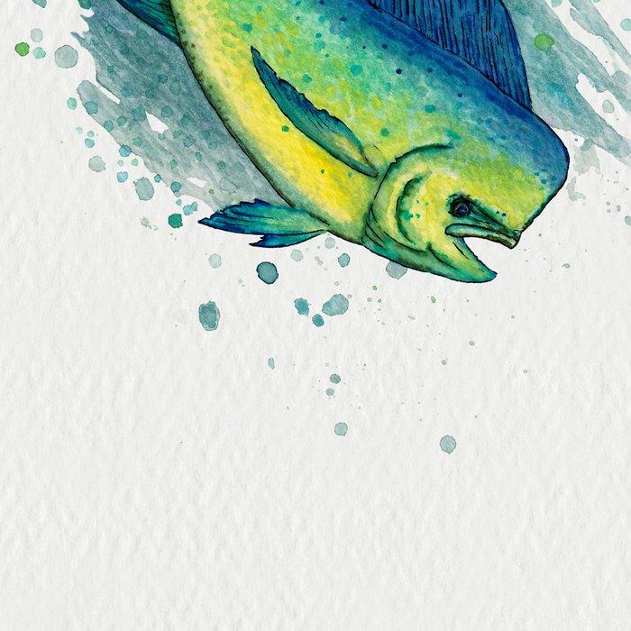 """""""Mahi Mahi Splash"""" by Amber Marine ~ Watercolor & Ink Painting, (Copyright 2016) Leggings"""