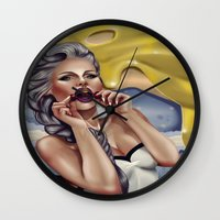 cherry Wall Clocks featuring CHERRY by Enola Jay
