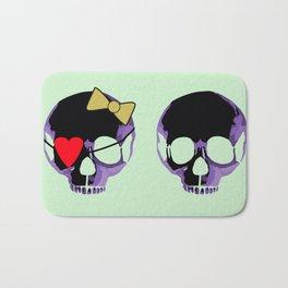 Purple skull heart with bow Bath Mat