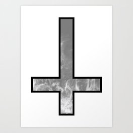 Inverted cross - Smoke Art Print